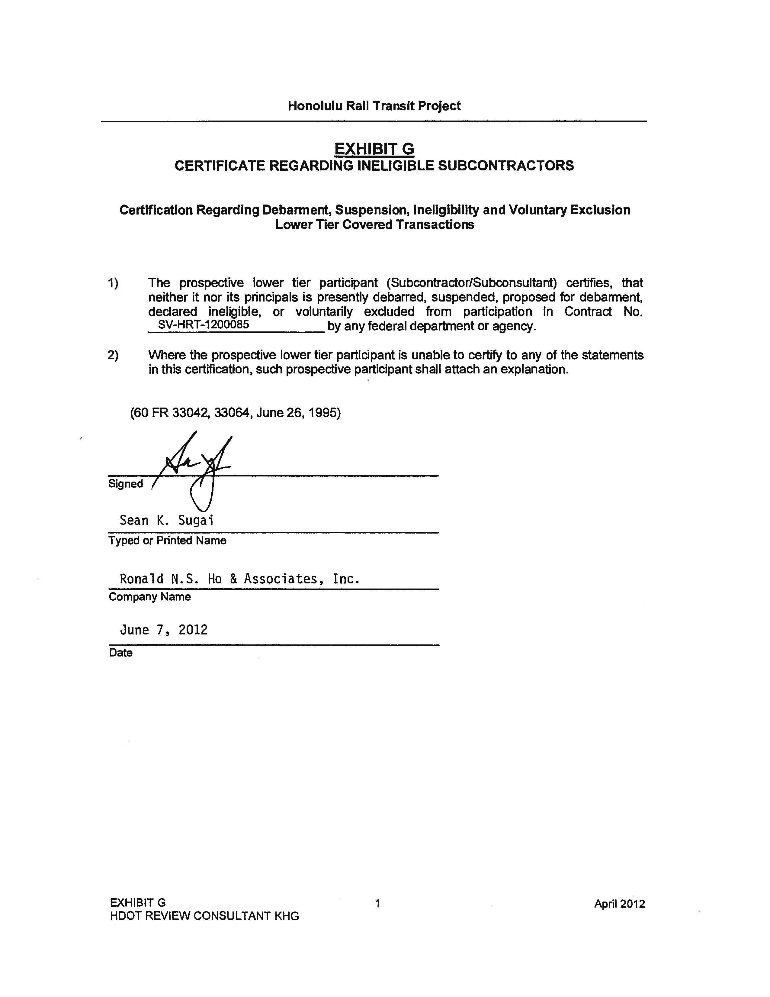 Certificate Acom Exhibit A Exhibit B Exhibit C Federal